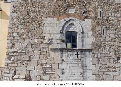 """Details of the Rectors Palace """"Rocca dei Rettori"""" Benevento castle, in Benevento, Italy"""