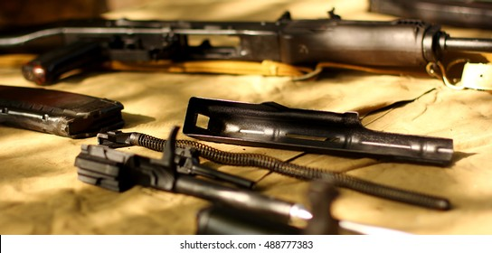 Details of rifles AK-47 Kalashnikov Russian automatic gun rifle detained party disassemble weapons.