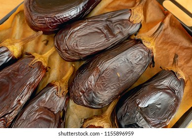 Details of Roasted eggplants in oven tray