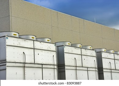 Details of a roof in a factory filled with cooling towers