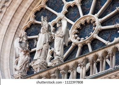 details in rose window of notre dame