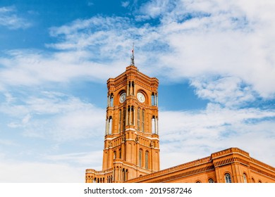 Details of the Rotes Rathaus in Berlin, Germany. Beautiful blue sky
