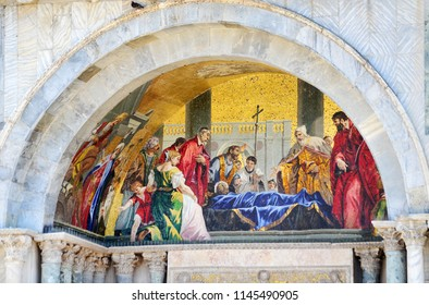 Details of Saint Marks Basilica, Mosaic Fragments of  Doge's Palace in Venice Italy