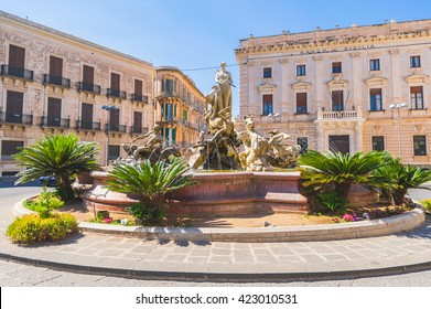 Details of the sculptures of the fountain of Diana at Ortigia, in city of Syracuse, Sicily, Italy