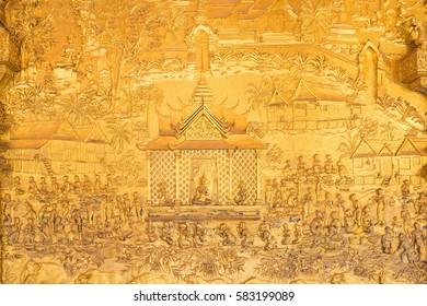 Details shot of Laos's art at Wat Mai in Luang Pra bang, Laos