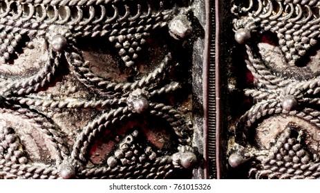 Details of silver bracelet filigree work