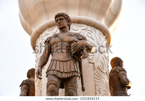 Details of Skopje,Macedonia. Statues in the historical city center of Skopje.Lion on the statue  of Alexander the Great.