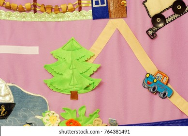 Details of soft creative mat for development of child(tree, road, car)