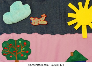 Details of soft creative mat for development of child(cloud, sun, airplane)