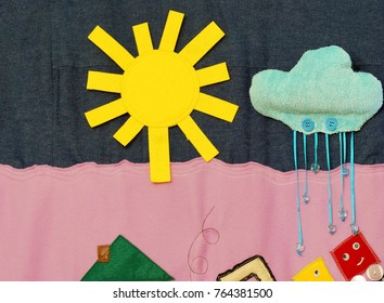 Details of soft creative mat for development of child(cloud, sun, rain)