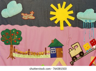 Details of soft creative mat for development of child(cloud, sun, rain, tree, house, fence)