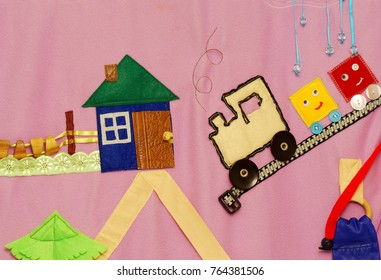 Details of soft creative mat for development of child(tree, house, fence, road, car)