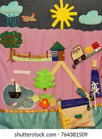 Details of soft creative mat for development of child(tree, sea, ship, fish, car, cloud, sun, rain, airplane, flower, house, fence, road, bag)