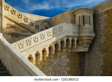Details of a stairs of the Notre-Dame de la Garde basilica in Marseille - France, Provence.