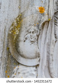 Details of the Statue of winged Minerva, Ancient Archaeological Site of Ostia Antica in Rome, Italy