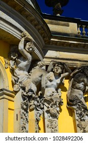 Details of statues and façade, Sans Souci Palace, Potsdam Germany