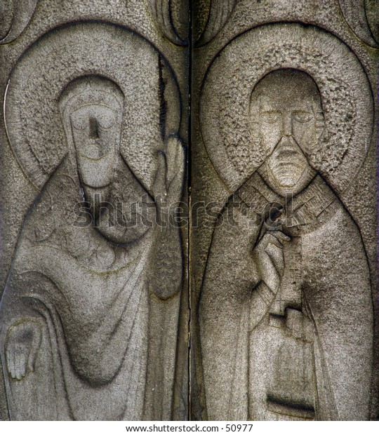 Details of the stone carved icons in the Novodevichy monastery in Moscow, Russia