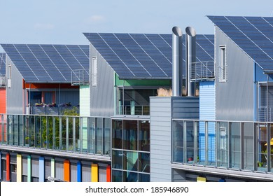 Details of the Sunship in green City, Freiburg. The solar sunship is in the solar village Vauban in Freiburg, Black Forest, Germany. It is known for its use of alternative and renewbale energy.