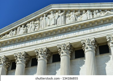 Details of Supreme Court's facade in Washington, DC, United States