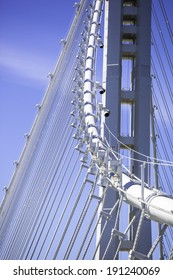 Details of suspension cables of the new San Francisco-Oakland  Bay Bridge