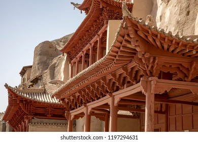 Details of three story pagoda outside of the Mogao Grottoes, or Caves of a Thousand Buddhas, Dunhuang, Gansu, China.