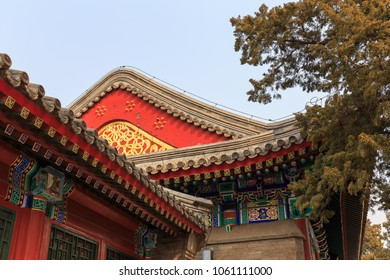 Details of traditional Chinese architecture at Beihai Park in Beijing, China.