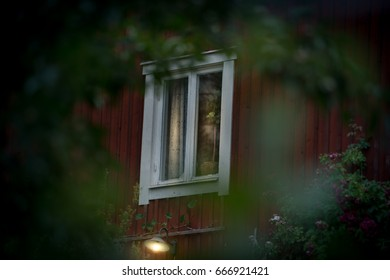 Details of traditional house in scandinavian style. Sweden, Scandinavia, Europe.