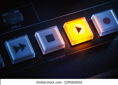 Details of transport bar of a mixing console, button play is on.