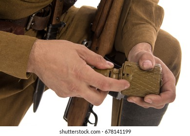 Details of uniforms and grenades in the hands of ordinary soldiers of the Russian army in the period 1939-1940