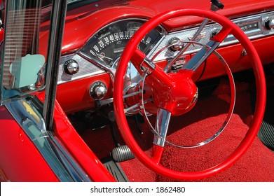 Details of a vintage convertible car
