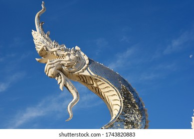Details of a white dragon  with blue sky