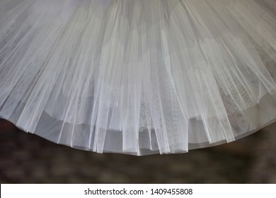 details of white tulle of classical tutu, copy space