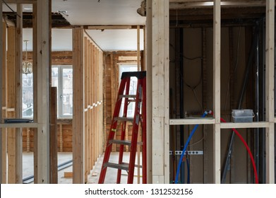 Details of wood framing on a retrofit interior renovation project in Toronto, Ontario