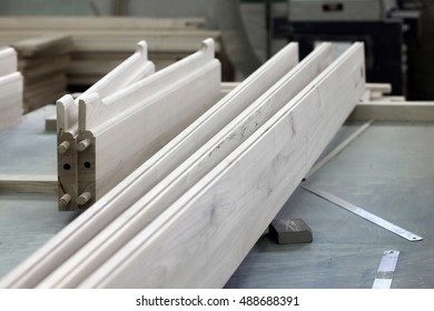 Details of wood products at a furniture industrial factory.