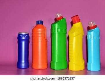 Detergent bottles. Detergents and laundry concept. Household chemicals for cleaning. Chemical liquid for washing. Concentrated and anti-bacterial liquids for dishwasher. Remove carbon and grease