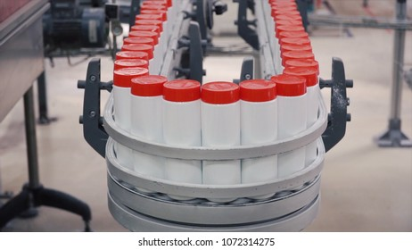 Detergent on Automated Production Line. Clip. Production line of production chemicals