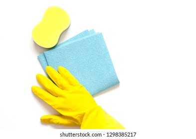 Detergents and cleaning accessories. Cleaning service, small business idea, spring cleaning concept. Flat lay, Top view.