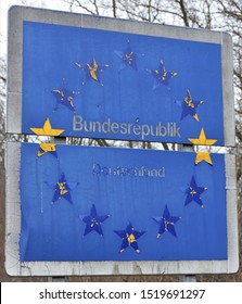 Deteriorated Federal Republic of Germany (Bundesrepublik Deutschland) Road Sign Symbolizing Decay of Infrastructure