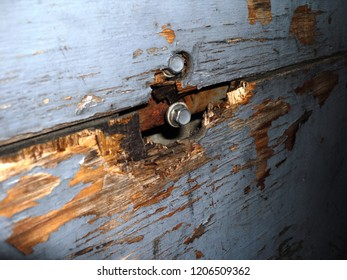 deteriorated wood with a screw close photo old outdoor closeup repair wooden