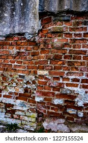 Deteriorating Old Brick Cement Wall Grunge Background
