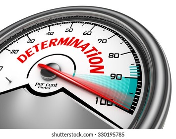 Determination conceptual meter indicate hundred per cent maximum, isolated on white background