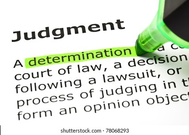 Determination highlighted in green, under the heading Judgment.