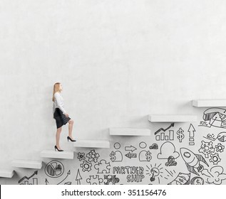 determined businesswoman climbing a carrer ladder, businessicons drawn under the ladder, white background, concept of success and career growth