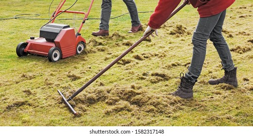 Entschlacken des Rasens mit einem Elektro-Dethatcher