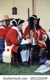 Detling Kent England 2003. An unidentified group of reenactors one wears the uniform of an Officer of the Duke of Monmouth's regiment at a re-enactment of the Monmouth rebellion 1685.