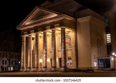 Detmold, Germany - February 6, 2018: The city theater. Night photo.