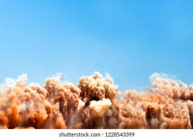 Detonator blasting on the construction site in the Oman