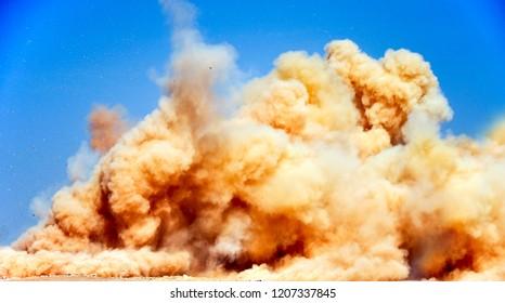 The detonator blasting to remove the rocks