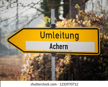 """Detour city of Achern constructions site traffic sign Germany, """"Umleitung"""" is german for diversion"""