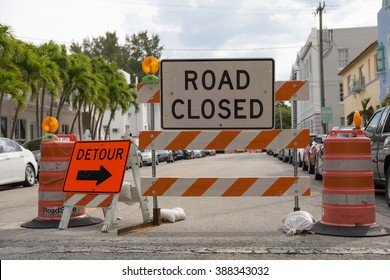 Detour - Road closed - Traffic sign